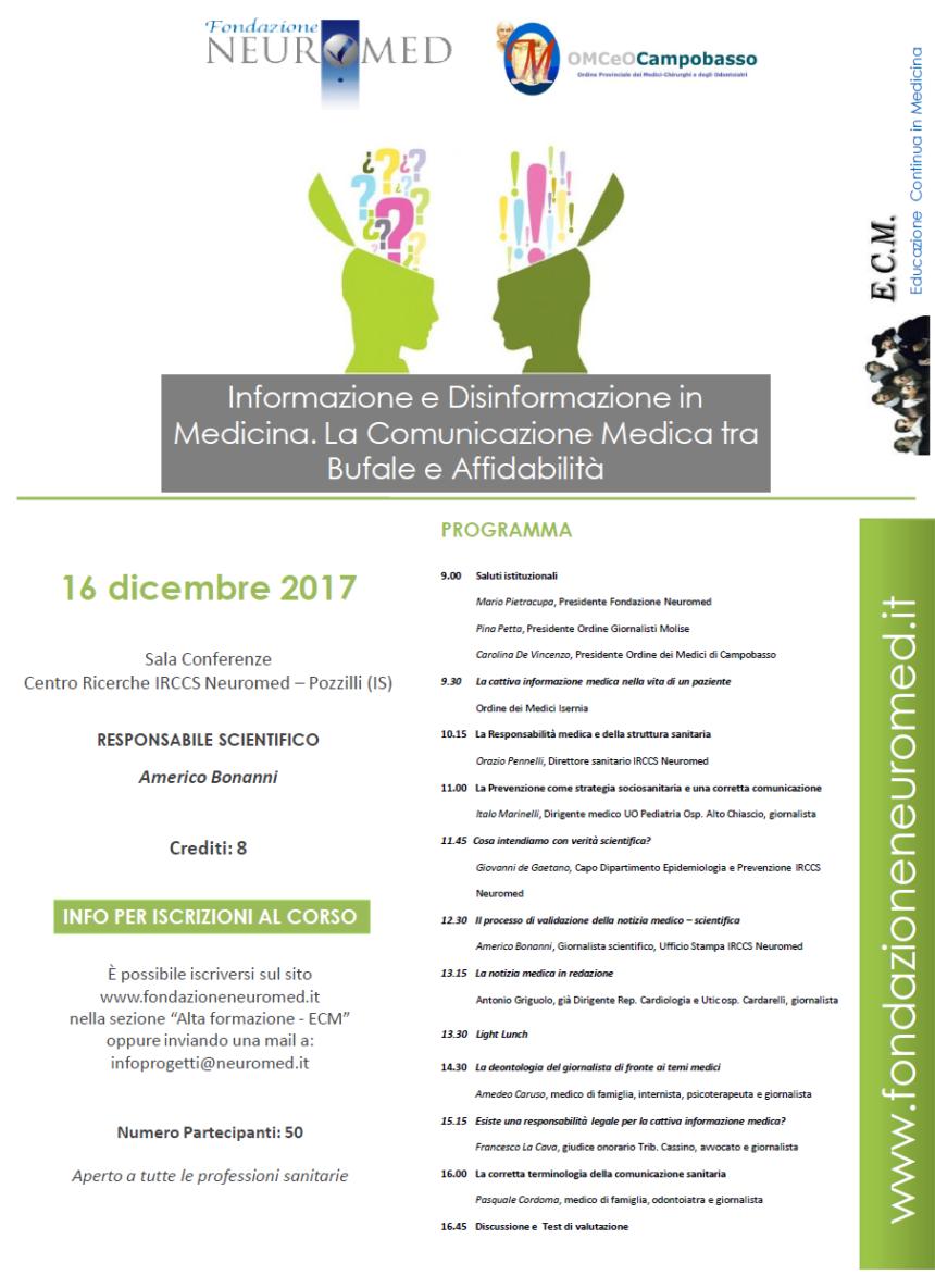 16 dicembre 2017 Corso  Informazione e Disinformazione in Medicina. La Comunicazione Medica tra Bufale e Affidabilità