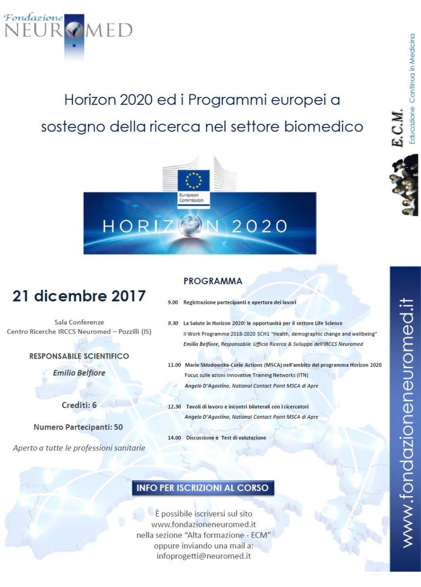 HORIZON 2020 ED I PROGRAMMI EUROPEI A SOSTEGNO DELLA RICERCA NEL SETTORE BIOMEDICO